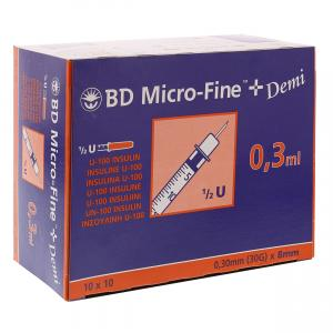 BD Micro-Fine+ 0,3ml U100 8mm 30G Insulinespuit
